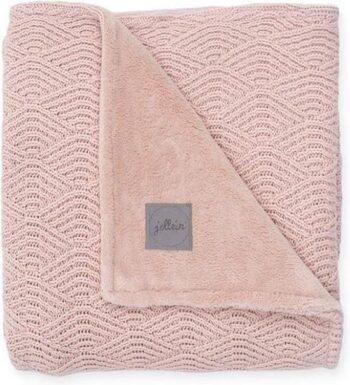 Jollein deken river knit - pale pink:coral fleece