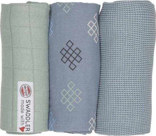 Lodger hydrofiele doeken - swaddler - empire knot - blauw - 3-pack