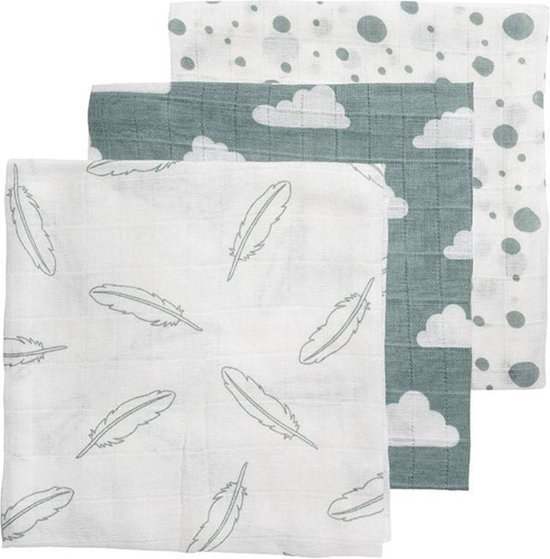 Meyco Feather-Clouds-Dots 3-pack hydrofiele luiers - 70 x 70 cm - jade:wit