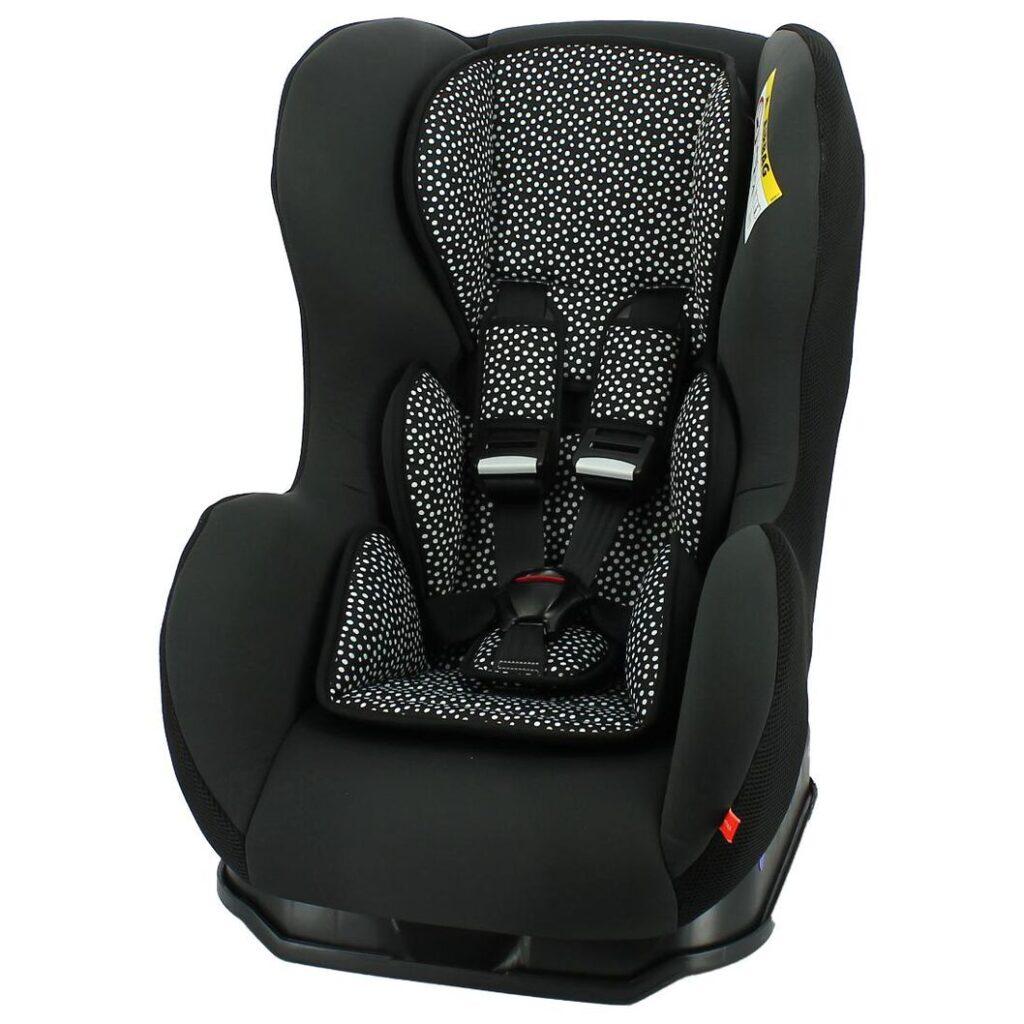 Hema autostoel baby 0-25kg - zwart met witte stippen