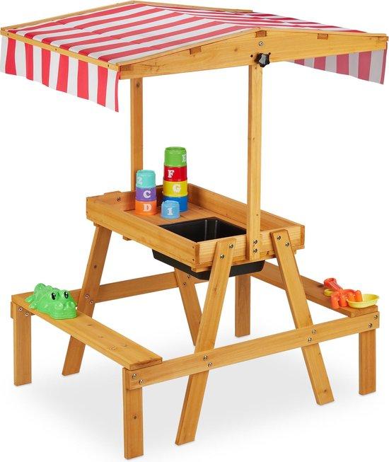 Multifunctionele picknick, tuin, water, zand en speeltafel met dak