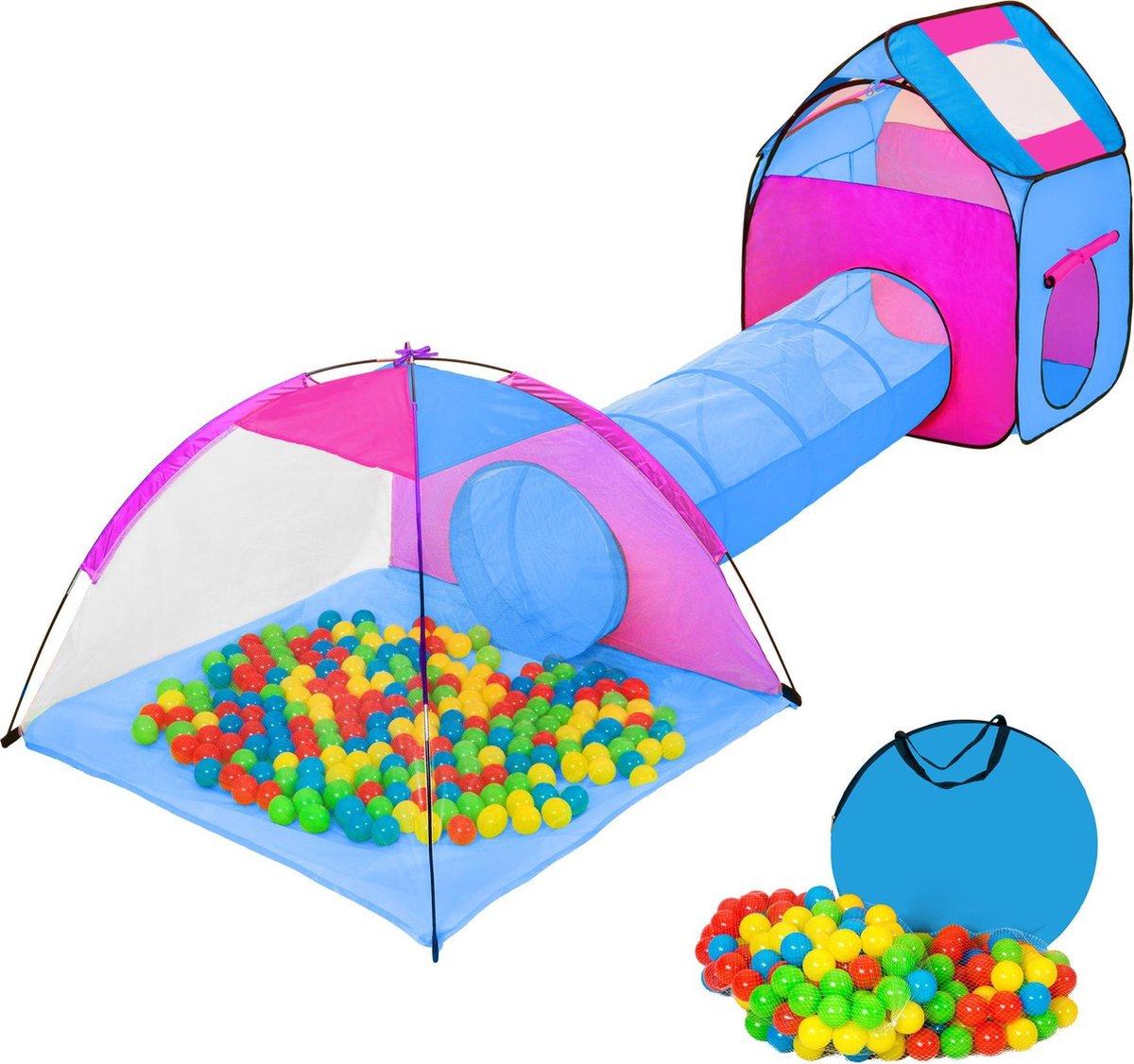 TecTake Iglo kindertent met ballenbak en speeltunnel - Blauw:paars