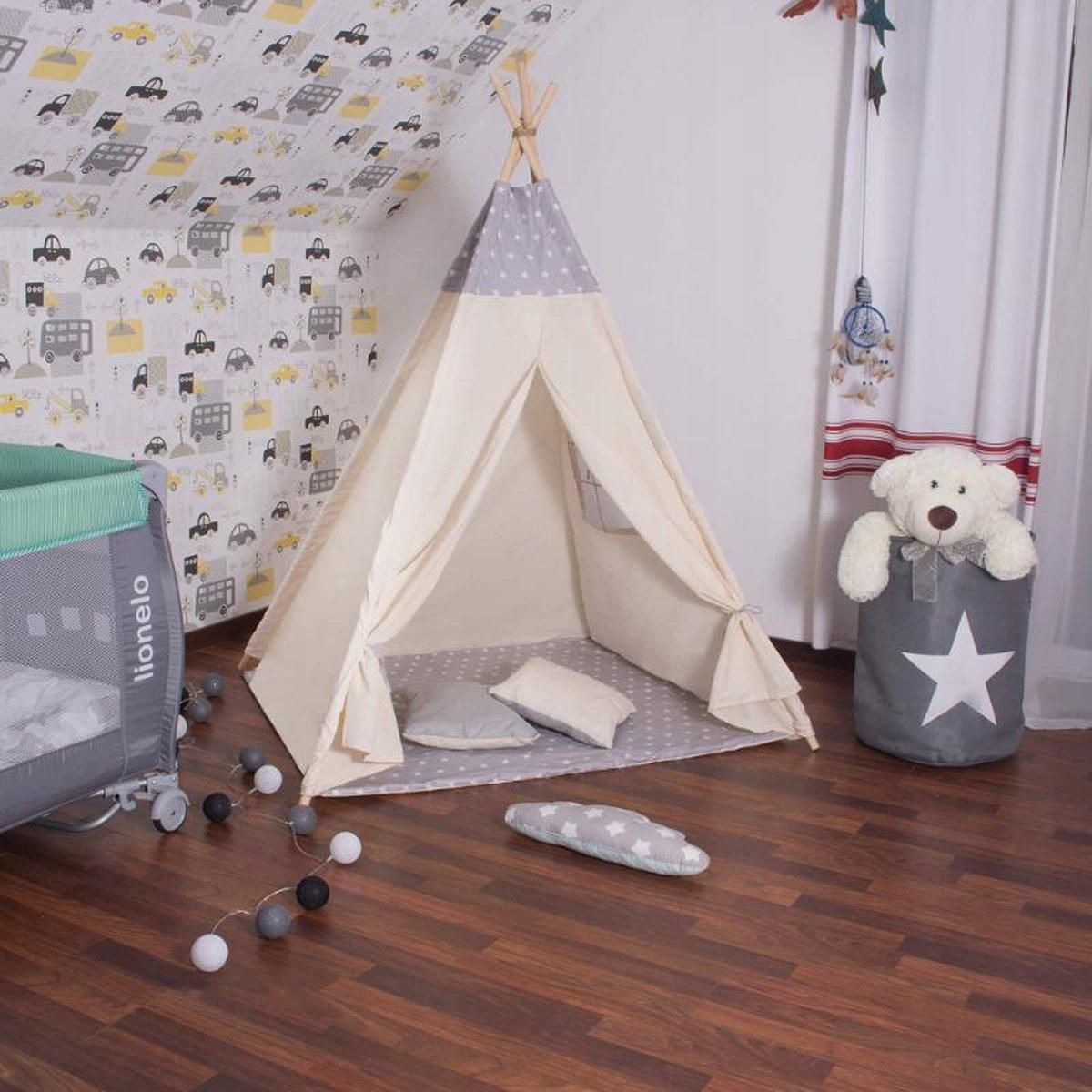 Tipi tent - Wigwam speeltent met mat en kussens - Naturel grijs sterren